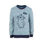 Zachte blauw melange trui met monster - boo ecru