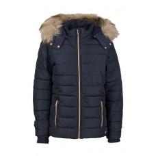 Donkerblauwe jas met afneembare kap en pels