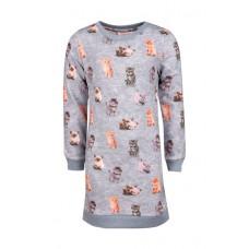Grijs melé sweaterkleed met katjes - light grey