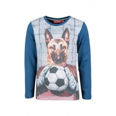 Grijsblauwe t-shirt met hondenkeeper - soccer blue