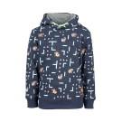 Donkerblauwe sweater met computerspel en tijgers - navy game