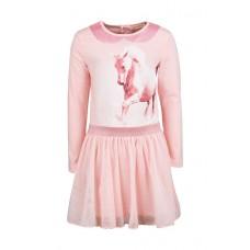 Licht roze kleedje met paard en tule - Soft pink quinn + ketting