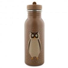 Bruine drinkbus met uil  500 ml - Mr. owl  [backtoschool]