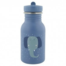 Grijsblauwe drinkbus met olifant 350ml - Mrs. elephant [backtoschool]