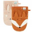 Set van 2 washandjes - Mr.Fox/Mrs. Rabbit