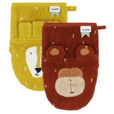 Set van 2 washandjes - Mr.Lion/Mr. Monkey