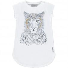 Witte meisjes t-shirt korte mouwen met tijgerprint - paper white inglewood