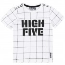 Witte t-shirt met raster high five - cloud dancer orewa boys white off