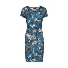 Blauw kleed met bloemen - dark grey dandy