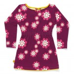 Paars kleed met retrobloemen - Fiona dress purple flower : maat 140