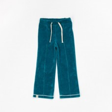 Petrolblauwe velourse broek - hecco box blue coral