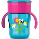 Eerste roze oefenbeker met bloemetjes en bijtjes oefenbeker Avent  (Geboortelijst Suza B.)