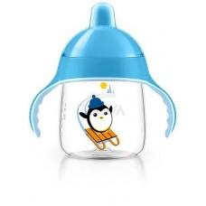 Lekvrije blauwe Avent pinguïnbeker 260ml met bijtbestendige drinktuit