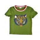 Olijfgroene T- shirt met tijger  (stapelkorting)