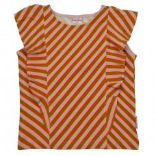 Gestreept ruffle t-shirt - Ruffle shirt diagonal pink (stapelkorting)