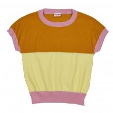 Gebreide t-shirt met vlakken - Brielle knitshirt chai tea