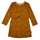 Mosterdgeel kleedje met blaadjes - Dress longsleeves leaves
