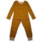 Tweedelige mosterdgele pyjama met blaadjes - Pyjama long fleece lycra brushed screenprint leaves