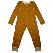 Tweedelige mosterdgele pyjama met blaadjes - Pyjama long fleece lycra brushed screenprint leaves