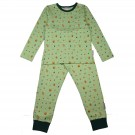 Tweedelige muntgroene pyjama met herfstprint - Pyjama long fleece lycra brushed digital autumn