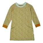 Muntkleurig kleedje met vlekjes- Pocket dress jaquard dots green