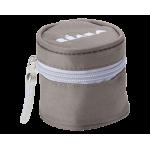 Grijs opbergtasje met paarse rand voor fopspeen - Béaba