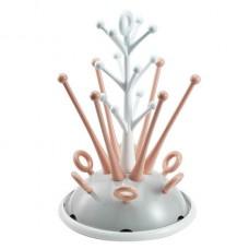 Uitdruiprek voor zuigflessen koraal/nude