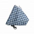 Blauw opbergtastje met driehoekmotief