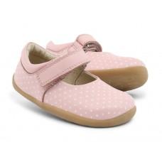 Elegante roze leren kinderschoentjes met witte stipjes  - Step up shell white spots plain mary jane