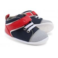 Sportieve blauw- rode leren kinderschoentjes - navy/ red uni hi top step up (stapelkorting)