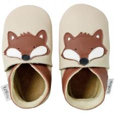 Beige leren kindersloefjes met vosje- beige fox- bobux