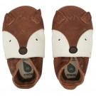 Bruine leren kindersloefjes met vossensnoetje  - Foxy Toffee