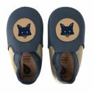 Donkerblauwe met beige leren kindersloefjes met vosje - navy beige fox