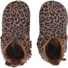 Karamelbruine leren kindersloefjes met luipaardprint - Caramel leopard print