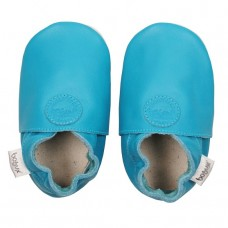 Turquoise leren kindersloefjes - blue classic dot