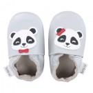 Zilverkleurige leren kindersloefjes met panda - silver panda - maat Large (15-21 maand) (Wenslijst Jonas D.)