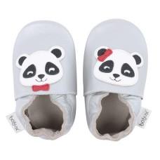 Zilverkleurige leren kindersloefjes met panda - silver panda