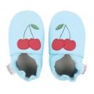 Turquoise leren kindersloefjes met kers - Aquino cherry - maat Small ( 3-9 maand) (Geboortelijst Fran S.)