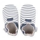 Blauw- wit gestreepte leren kindersloefjes -White with navy stripes - maat Medium ( 9-15 maand) (Geboortelijst Anna C.)
