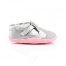 Zilverkleurig schoentje met oud roze- xplorer silver/ ice pink origin