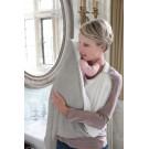 Grijs met witte cuddledry en sterretjes - badcape /handdoek (Geboortelijst Livia V.d.V.)