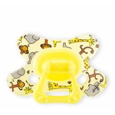 Fopspeen - dental speen geel met dieren - 6m+