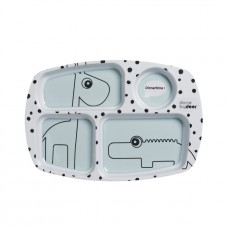 Viervaksbord munt met giraf en krokodil - Compartment plate happy dots blue