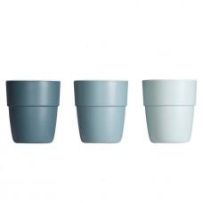 Set van 3 melaminebekers - blauw