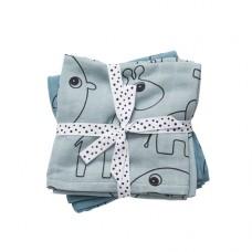 Blauwe XL tetradoek met safaridieren - Contour blue 2 pack