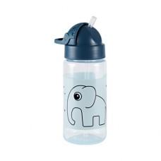 Blauwe rietjesbeker met olifant - Straw bottle elphee blue