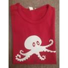 Rode t-shirt korte mouw met inktvis 74/80 (Geboortelijst Marie V.)