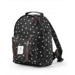 Zwarte rugzak met witte stipjes- black mini bag dots