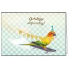 Wenskaart papegaai met gouden vlaggenlijn -  Gelukkige verjaardag