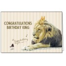 Wenskaart met leeuw met gouden kroon - congratulations birthday king